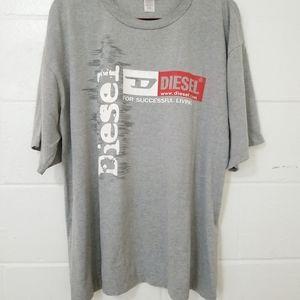 DIESEL Spellout T Shirt Mens XXL Gray Grey Tee